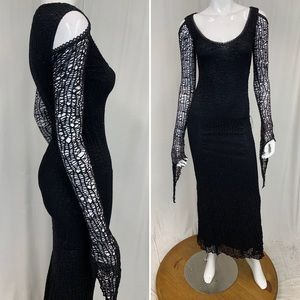 Lip Service Fetish Black Fishnet Lace Goth Cold Shoulder Stretch Maxi Dress Gown